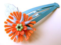 Blue and Orange Vintage Flowers Barrette