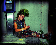 Phone Punk  #2 (Scottspy) Tags: colors portraits lomo saturated streetphotography kansascity mohawk kc punks scottspy latenightphotography