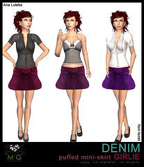 [MG fashion] DENIM puffed mini-skirt GIRLIE