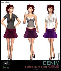 [MG fashion] DENIM puffed mini-skirt GIRLIE
