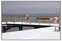 A cold swim (Nicoze) Tags: old winter sea snow cold beach swim funny sweden sverige swimsuit helsingborg oresund nicoze nicolasmasse lpwinter