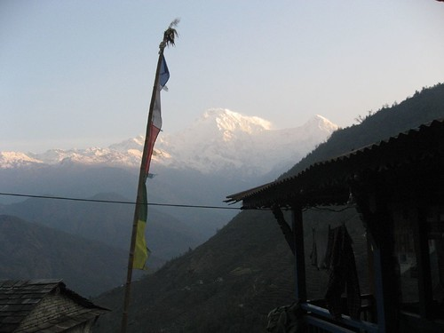 Morning view of Annapurna South (left) and Hiun Chuli (right)