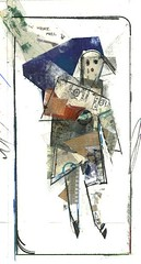 collage: girl with blue (herselfsurprised) Tags: art girl collage mixedmedia foundpaper