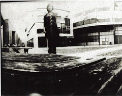 Pinhole 2 Inverted (Miss Holly Louise) Tags: blackandwhite bench missing arm pinhole