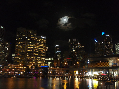 The Moon and the city lights
