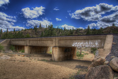 Low Level Railroad Bridge, Buena Vista, Colorado (Thad Roan - Bridgepix) Tags: railroad bridge blue trees sky clouds river drycreek sand rocks whitewater track rail railway rafting buenavista traintrack railfan hdr arkansasriver bridging lowlevel thenarrows chaffeecounty photomatix 200805 bridgepixing bridgepix