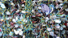 Phone-wire tangle, exterior riser, London, UK ...