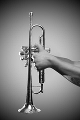 Instrumental (Casey.Lee) Tags: bw white black blanco contrast digital canon studio eos 50mm hands y post negro trumpet processing instrument f18 vignette fifty nifty 30d kcliphotography