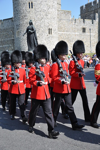 Guards with very modern arms