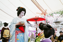 T E A : Kamishichiken (mboogiedown) Tags: travel red woman white black beauty smile festival japan asian japanese interestingness kyoto asia tea blossom outdoor traditional ceremony culture plum explore geiko geisha kimono tradition february ume kansai matsuri sado katsura nodate baikasai chado kamishichiken i500 oshiroi discoverkyoto umeshizu