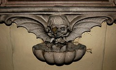 Winged Skull and Basin for Holy Water