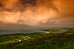 Connemara Vista (Dave G Kelly) Tags: ireland sea sky orange cloud green galway beach nature water clouds rural landscape coast eire explore coastal connemara coastline landschaft irlanda irlande cottages clifden  irlandia interestingness47 interestingness112 i500   aplusphoto   davegkelly