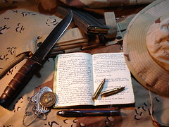 Weapons (che moleman) Tags: dog moleskine usmc magazine military knife tags marines bullets weapons dogtags kabar