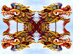 Four Dragons (mirored) (Marco Braun) Tags: sky germany deutschland four colours dragon himmel dragons coloured allemagne halle farbig vier bunt draco 2007 drache drachen quatre sachsenanhalt septemper dracon drkon   151107 drakn