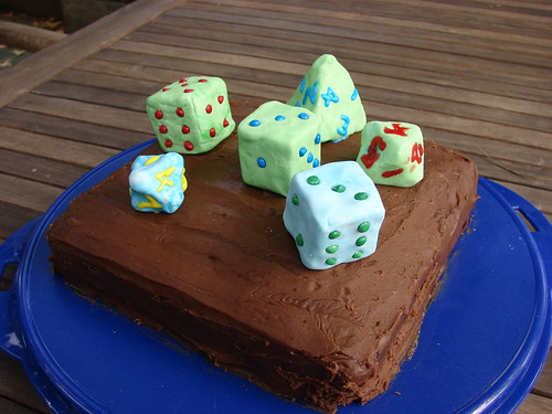 Polyhedral dice cake