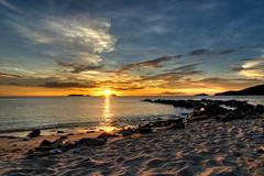 Reaching The Sun (Jeremy-G) Tags: blue sunset sea sky detail beach nature water lines yellow canon sand bravo rocks footprints tokina sparkle 1224mm hdr photomatix 3exposure 400d