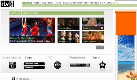 ITV catch up TV page