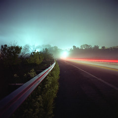 (patrickjoust) Tags: road county light usa color 120 6x6 tlr film fog night analog america river dark square lens anne lights us reflex focus stream exposure glow fuji mechanical streak metro united release tripod north patrick twin cable baltimore mat v 124g epson after medium format lon states tungsten manual 500 expired 80 joust yashica metropolitan arundel aac estados patapsco 80mm f35 fujicolor unidos npl yashinon v500 160t autaut patrickjoust