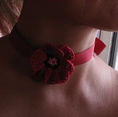 Japanese pattern poppy (atgaiva) Tags: flower thread japanese necklace pattern crochet cotton poppy crocheted choker