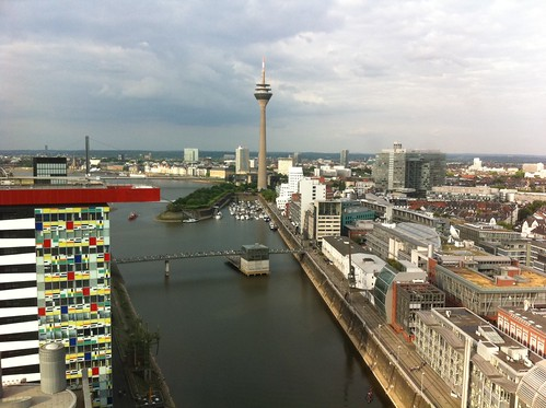Dinner high above Dusseldorf - view from our table #Persgroep #summit