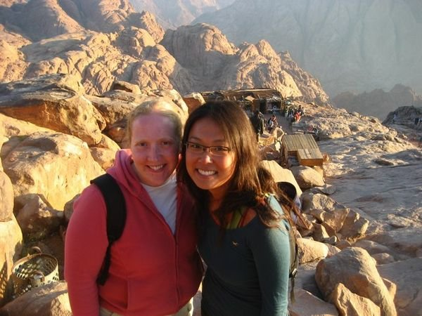 Grace and I climbing down the easy way from Mt. Sinai