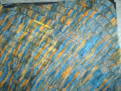 Wool blue hand dyed Clapotis scarf
