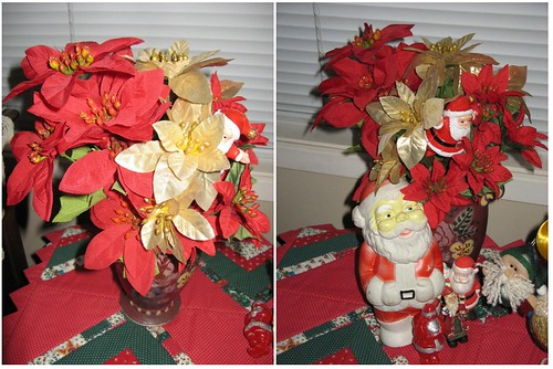 poinsettia with santas
