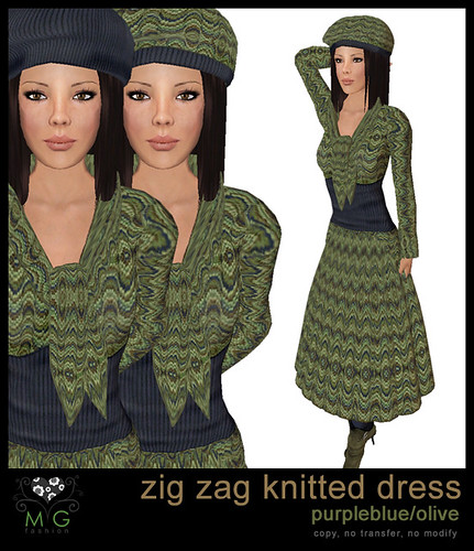 [MG fashion] Zig zag knitted dress (purpleblue/olive)