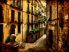 Streets of Girona (XI) (ToniVC) Tags: street door old sun sunlight plant building window coffee lamp stone wall bar canon table spain chair ancient bravo europe balcony flag perspective catalonia girona aged textured lebistrot magicdonkey a640 tonivc pujadadesantdomnech