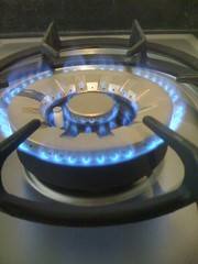First Light (oinonio) Tags: blue white black kitchen silver gold stainlesssteel gas ring virgin flame burner gaslight naturalgas hob coned firstlight burnerring