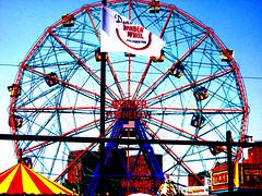 wonder wheel (babadri) Tags: newyorkcity blue light red summer beauty yellow brooklyn contrast coneyisland colorful ride amusementpark wonderwheel catchycolorsred catchycolorsblue
