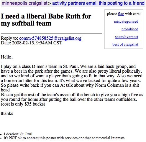 I need a liberal Babe Ruth for my softball team