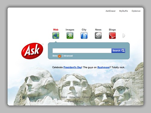 Ask.com Presidents Day Theme