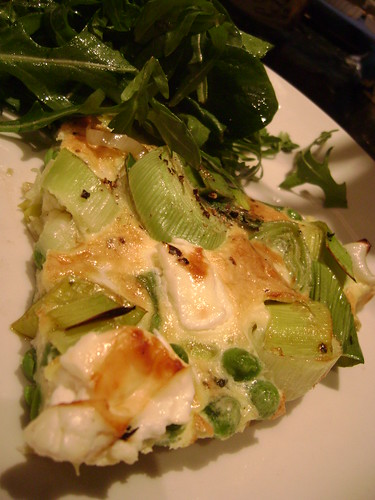 Leek Pea and Feta Fritatta