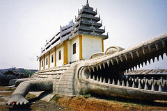 Temple on a giant crocodile statue, Myawaddy, Myanmar / Burma (Boonlong1) Tags: world travel sculpture art animals statue architecture temple asia burma religion culture buddhism exotic sacred myanmar templo cultural myawaddy animalstatue 5photosaday