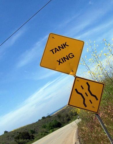 Tank crossing on Pendalton Marine Base near Oceanside, California, USA