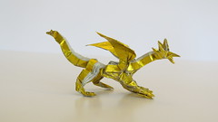 Box-pleated origami dragon - version two - pic two (Tankoda) Tags: origami box pleated boxpleated dragon evolution version one 1 travis nolan own design folded by art paper japanese foil 6 six inch 8 eight gold silver wings head legs toes