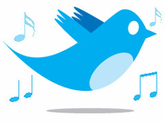 Twitter Bird With Music Notes