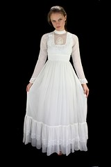 Gunne Sax Victorian Inspired Ivory Cotton & Lace Ruffled Gown Full Length Front Displayed 1 (mondas66) Tags: ruffles ribbons lace victorian cotton romantic ribbon gown elegant gowns ornate lacy frilly elegance ruffle gunnesax frills frill ruffled flouncy flounce lacework frilled ribboned flounces frilling frillings befrilled