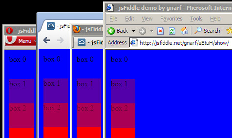 Opera 10, Chrome 10, Firefox 3.6, and IE 6  demonstrating alpha blending
