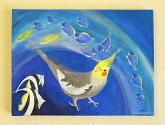 Aquarium (YokosGallery) Tags: blue sea portrait pets fish art water birds glitter painting marine acrylic canvas cockatiel etsy ultramarine yokosgallery