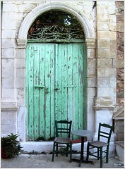 Stop for a drink ! (Jean-christophe 94) Tags: door green bar table chairs drink pastel greece crete kriti jc94 jeanchristophe94