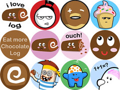 12 badge ideas (Onno Knuvers) Tags: love one 1 design log inch chocolate character evil more eat cupcake badge donut freddie logger vector frosting industries
