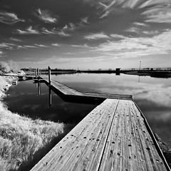 Docks on the Salton Sea (ec808x) Tags: blackandwhite 20d canon landscape infrared saltonsea canon1022mm bombaybeach flickrslegend