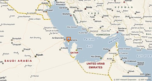 Tighter map showing Bahrain, Saudi, Qatar