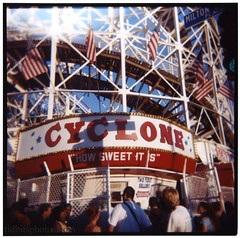 Cyclone (david sine) Tags: city nyc newyork color 120 film brooklyn mediumformat square coneyisland holga boardwalk blogged rollercoaster coney holga120cfn parachuteride