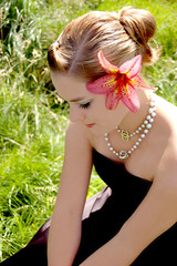 Flower in her hair... (Goldie Locks) Tags: portrait flower sarah hair lily serene pearl chanel elisabeth poole wistful blackdress hohmann