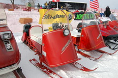 Polaris Sno-Traveler 1963 and 1962 2008 108 N (Corvair Owner) Tags: winter lake snow classic up mobile vintage town mobiles antique michigan 63 historic equipment tip houghton 2008 1962 62 sleds snowmobile 1963 polaris tipuptown powersports snotraveler