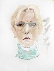 NACHSITZEN (2007) (przondzion) Tags: portrait woman face female germany painting paper deutschland gesicht acrylic head expression portrt study frau papier acryl 2007 studie kopf gemlde weiblich ausdruck zeitgenssischekunst contemporaryfineart tomprzondzion