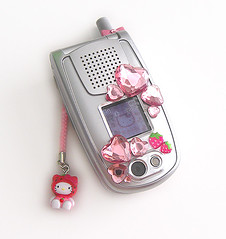 Hello Kitty Strawberry Cellphone Sanyo PM-8200 (pkoceres) Tags: pink japan strawberry sticker heart crystal hellokitty cellphone sanrio electronics strap modified keitai rhinestone gem jewel phonestrap   netsuke       denwa   jewelsticker hellokittystrawberry